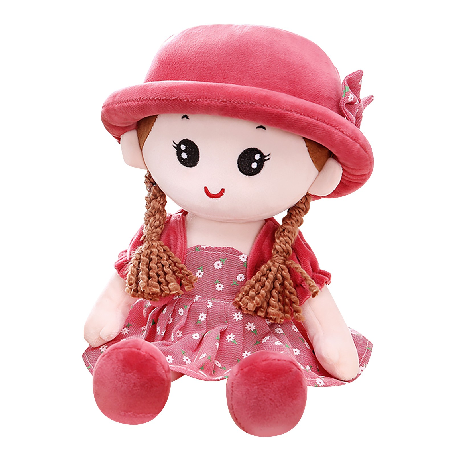 New Kids Plush Toys Cute Baby Girls Ragdoll With Hat Stuffed Doll Home Decoration Ornaments Holiday Gifts Educational Toys