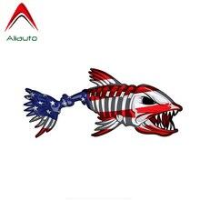 Kişilik araba Sticker abd domuz balık Sticker vatansever amerikan bayrağı balıkçılık çıkartması PVC su geçirmez kapak Scratch 15cmX6cm