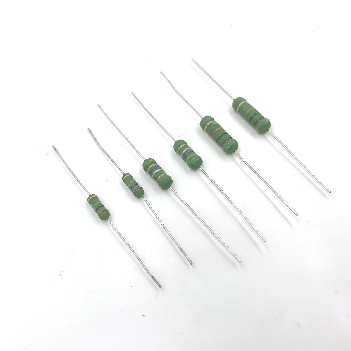 100 pces 0.39r 0.43r 0.39ohm 0.43ohm 0.39 0.43 r ohm 1w 1ws 3x9mm resistência pequena do anel da cor do resistor do filme do óxido de metal