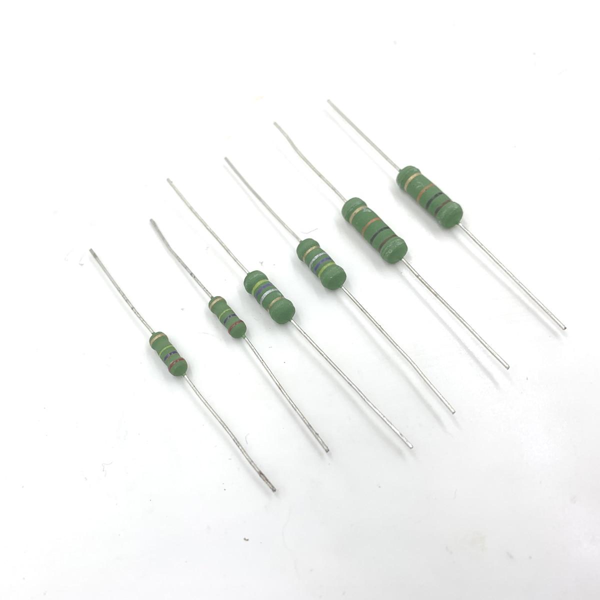 100 шт. 3 Вт 3WS 150R 180R 200R 150ohm 180ohm 200ohm 150 180 200 5x15 маленький металлоксидный пленочный резистор цветное кольцо сопротивление R ohm