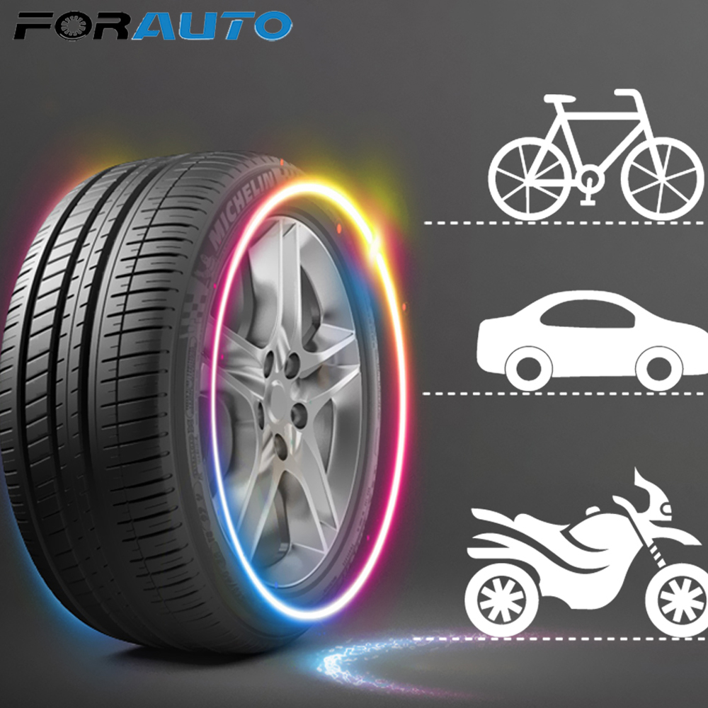FORAUTO 2pcs Neon Lamp Car Tire Valve Cap Decorative Lantern Light Stick Type Mountain Bike Light Wheel Spokes Lamp LED Light