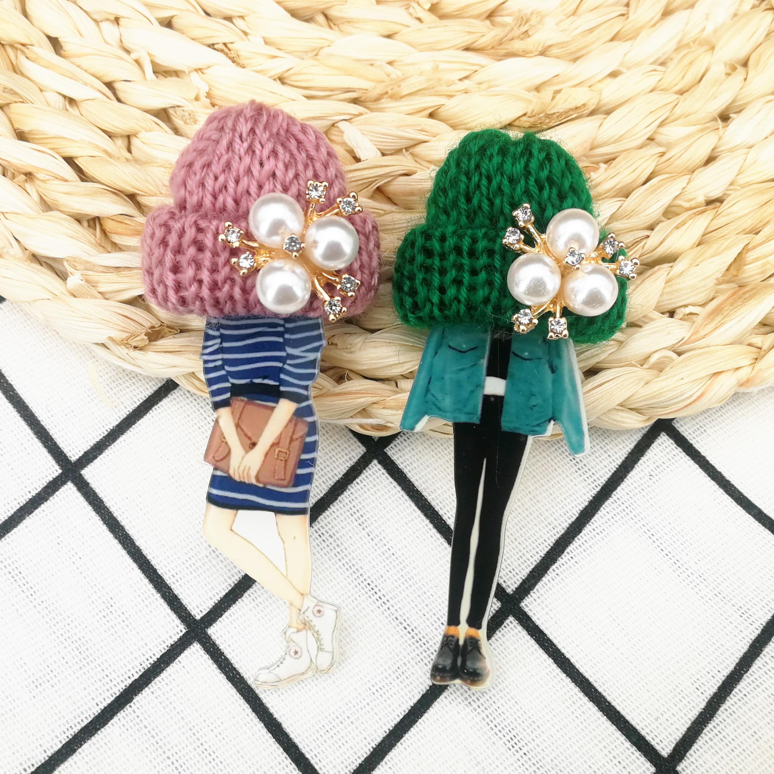 Girls Cute Lovely Brooches For Woman Wool Hat Crystal Cartoon Badges Brooch Pins Fashion Harajuku Pins Icons Gifts Drop-Shipping