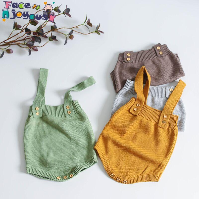 Baby Knitting Rompers Cute Overalls Newborn Baby Girls Boys Clothes Infantil Baby Girl Boy Sleeveless Romper Innrech Market.com