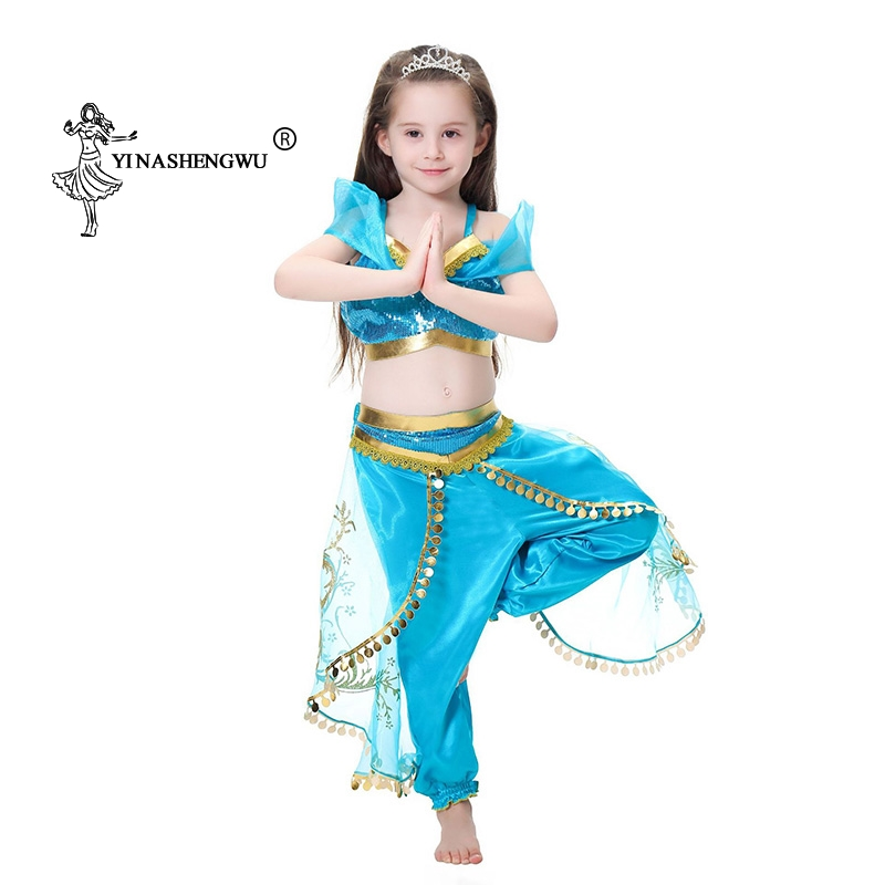 Cosplay Costume Girls Aladdin's Lamp Jasmine Princess Dress Up Costume Children Halloween Christmas Party Set Two-Piece+Headwear