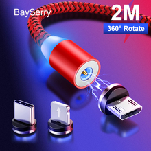 BaySerry Magnetic Charger Micro USB Type C Cable For Samsung S20 Xiaomi For iPhone 11 Pro Max XR Magnet Fast Charger USB C Cable bayserry magnetic charger micro usb type c cable for iphone 11 xr magnet cable fast charging wire for samsung s20 xiaomi huawei