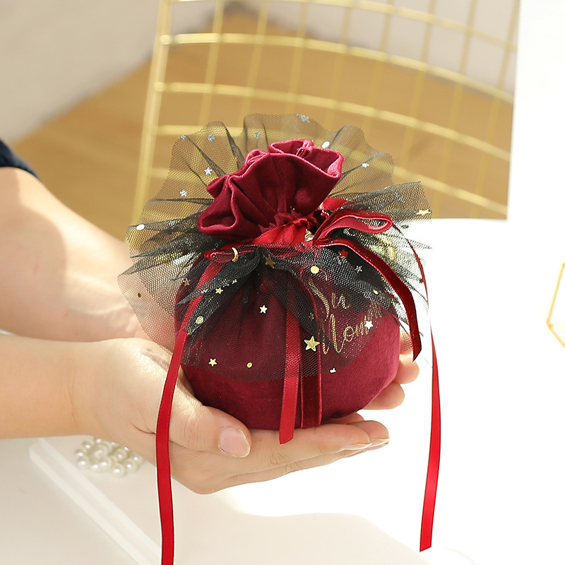 2020 Wedding Thick Velvet Candy Box Wedding Creative Gift Box Baby Full Moon Beam Back Gift Bag Pouches Supplies For Festival