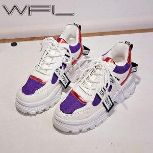 Image 1 - WFL/женские кроссовки на платформе; Не сужающийся книзу массивный папа; Обувь на толстой нескользящей подошве; Модная обувь для женщин; Спортивная обувь