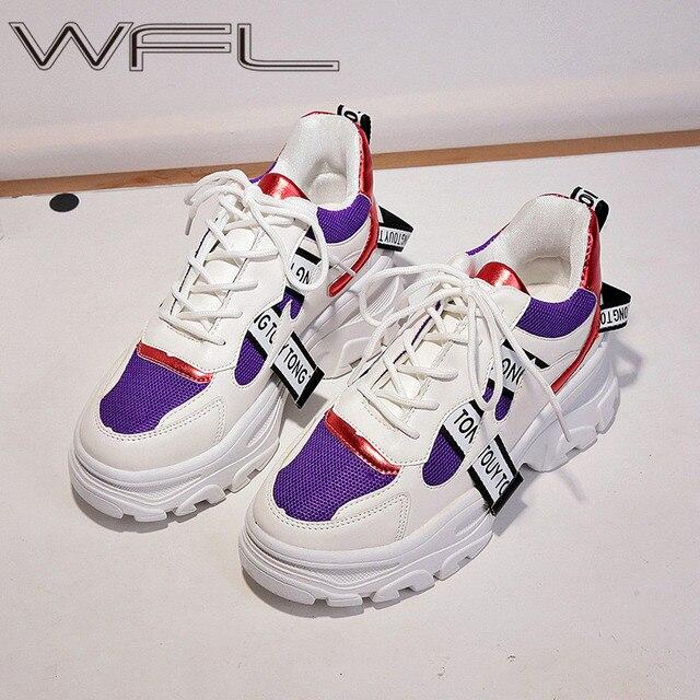 WFL/женские кроссовки на платформе; Не сужающийся книзу массивный папа; Обувь на толстой нескользящей подошве; Модная обувь для женщин; Спортивная обувь