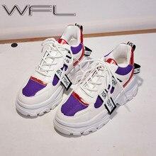 Wfl tênis feminino plataforma grosso pai calçado grosso anti deslizamento sola sapatos de moda para mulher sapatos esportivos