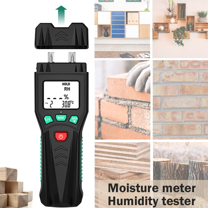 Two Pins Digital Wood Moisture Meter 7 Categories Of Materials Humidity Tester Timber Damp Detector With LCD Display Backlight