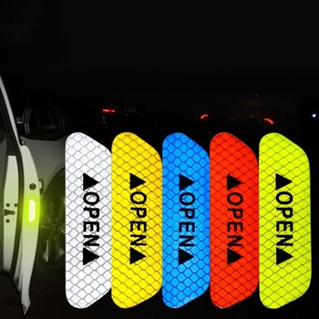 Car Door Stickers OPEN Reflective Tape Warning Mark for Kia Rio K2 3 Ceed Sportage Sorento Cerato Armrest Soul Picanto Optima K3 image
