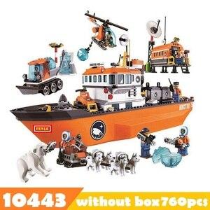 Image 1 - 760pcs 10443 City Arctic Outpost Policemen building blocks Figures Model Toys jail cell Bricks city building blocks toys for boy