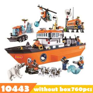 760pcs 10443 City Arctic Outpost Policemen building blocks Figures Model Toys jail cell Bricks city building blocks toys for boy