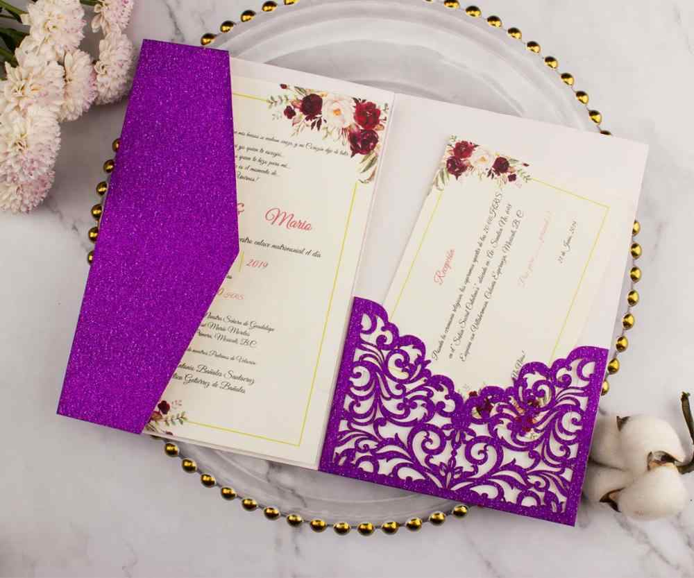 Free Shipping 50X Tri fold Glitter pearl Laser cut Pocket fold Wedding Invitation  Cards 3D Greeting Invite with envelope rsvp| | - AliExpress