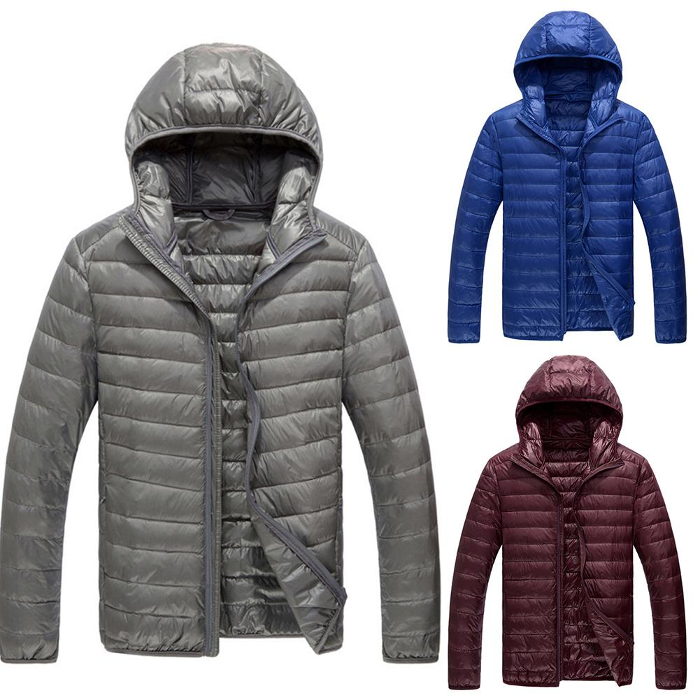 2019 Casual Men Autumn Winter Ultralight Duck Down Long Sleeve Zipper Hooded Coat Light Warm Down Jacket  For Men Feather Hooded