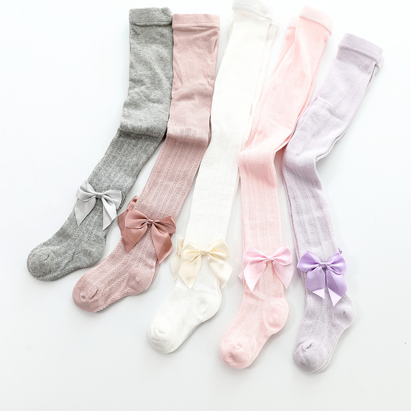 0 To 6 Years Summer Knitted Mesh Pantyhose For Princess Ultrathin Breathable Large Bowknot Tights For Girls Cotton Kids Tights