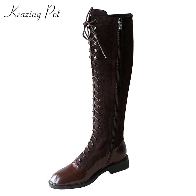 Krazing Pot winter round toe long handsome knee-high boots cow leather patchwork flock British lace up rivets women boots L77