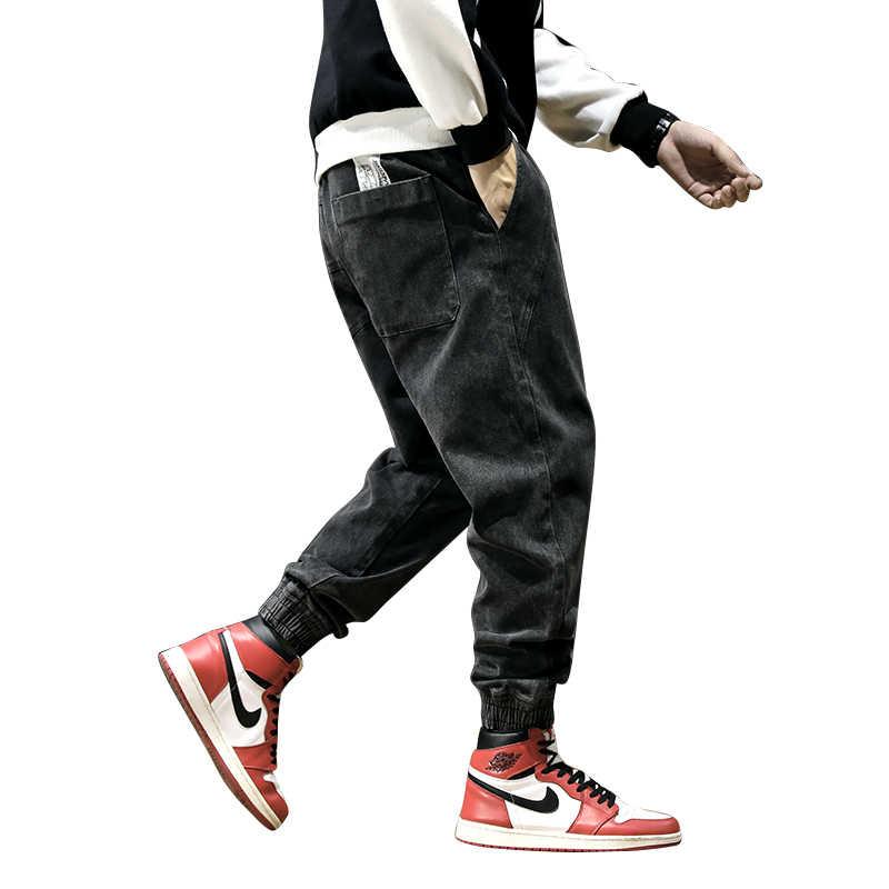 Модные уличные мужские джинсы в винтажном стиле, черные штаны-карго из денима, штаны-шаровары в японском стиле, хип-хоп джинсы Джоггеры для мужчин