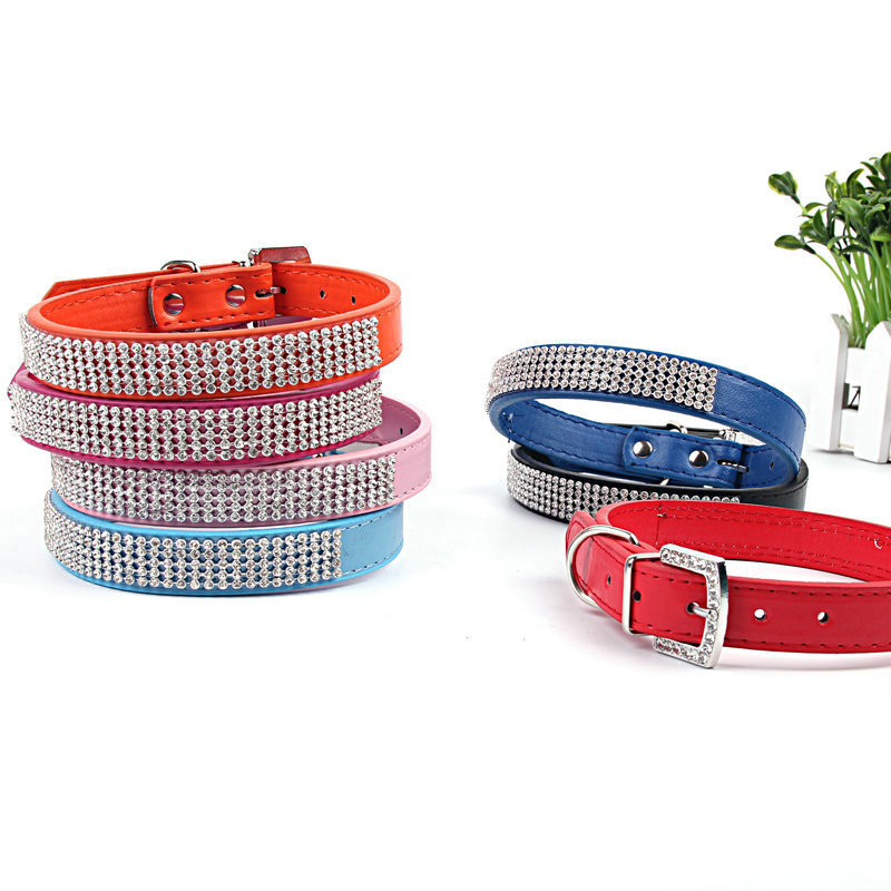 Pet Collar Net Drill PU Leather Crystal Buckle Head Dog Neck Ring Gang Drill Diamond Set Neck Ring Customizable