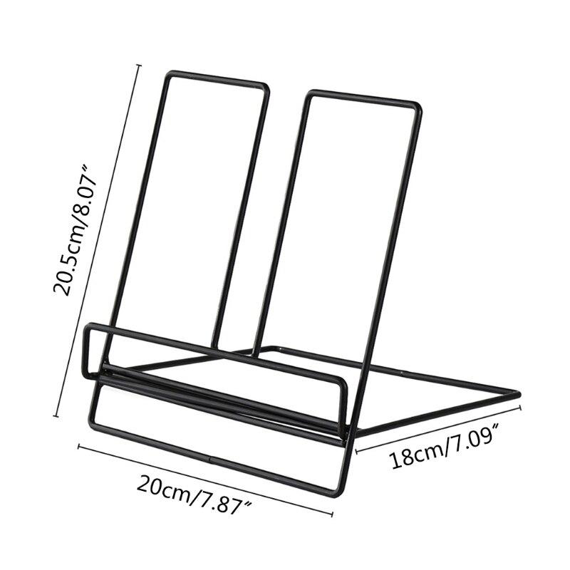 Multifunction Geometric Storage Rack Wrought Iron Organizer Tablet Book Magazine Display Support Stand Holder