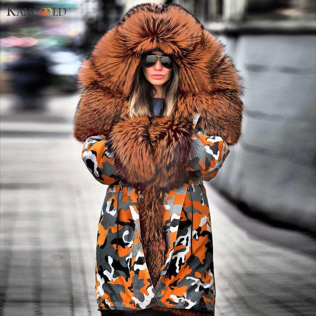 KANCOOLD coats Women Fuzzy Fur Camouflage Winter Warm Hoodie Jacket Windproof Outwear Thick fashion new coat women 2019NOV21