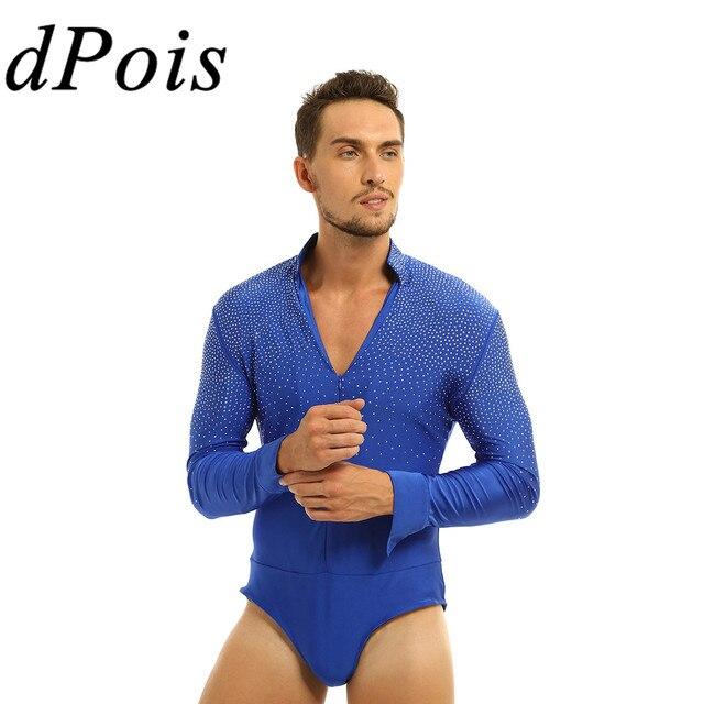Men Glitter V neck Latin Dance Gymnastics Leotard Bodysuit Shirt Top Man Ballroom Tango Rumba Dancewear Halloween Costume Outfit