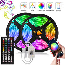 Music Sync Led Strip Light RGB 5050 Led diodo a nastro DC 12V 5m 10m 15m 20m Wateproof LED Light IR Controller per la decorazione domestica