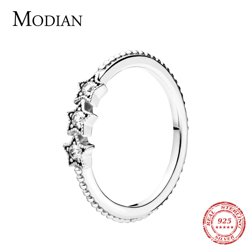 Modian 100% Real 925 Sterling Silver Vintage Stars Clear CZ Stackable Finger Ring For Women Charm Fashion Fine Jewelry Bijoux