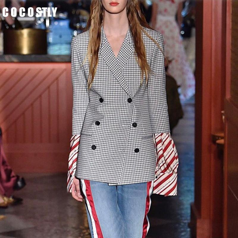 2019 Autumn Fashion Blazer Women Clothes Turn-down Collar Full Sleeves Plaided Patchwork Sleeves Jacket Female Blazer Feminino