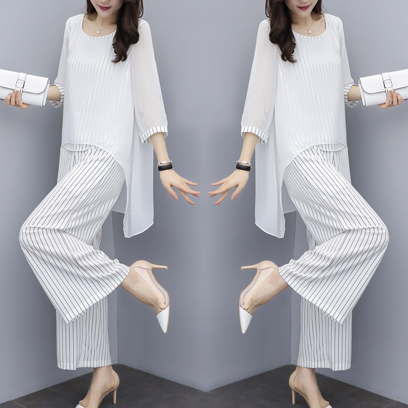 Chiffon Pantsuits Women Pant Suits For Mother Of The Bride Outfit 2019 Formal Wedding Guest Striped Wide Leg Loose 3 Piece Sets