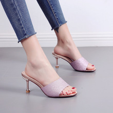 Fashion slippers woemn summer wear 2019 new the wild fine with rhinestone fashion cat a word drag ladies shoes