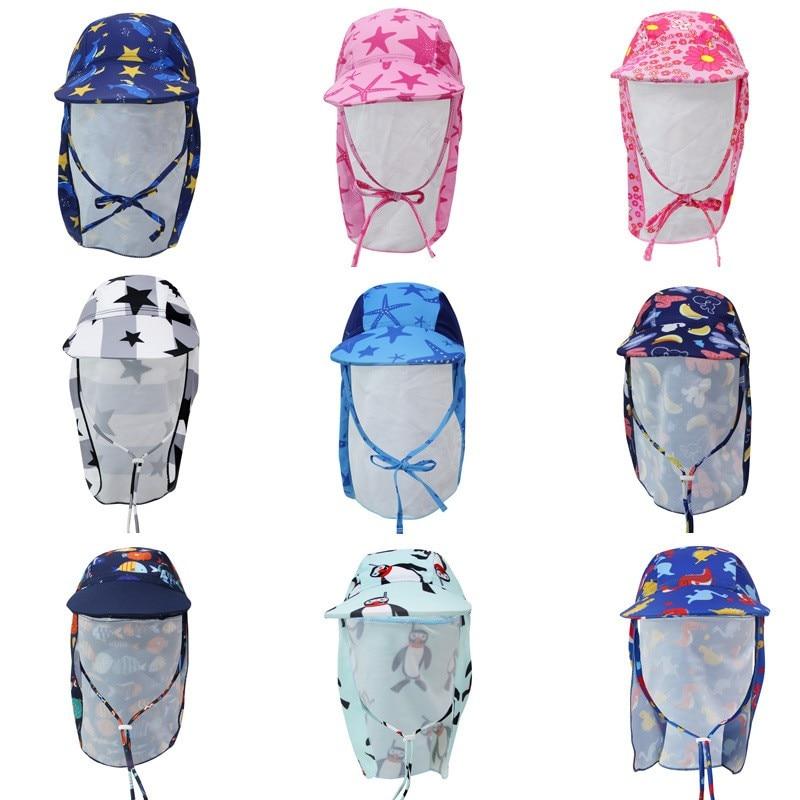 Kids Children Summer UPF 50+ UV Protection Outdoor Beach Sun Hat Boy Girl Swim Cover Flap Cap Adjustable Dinosaur Cap Swimwear
