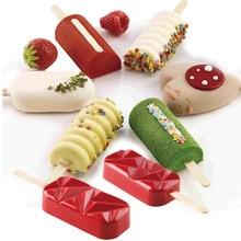Meibum Silicone Ice Cream Moulds Summer Dessert Tools Popsicle Molds Matching Set Juice Milk Cube Tray 50pcs Wooden Sticks