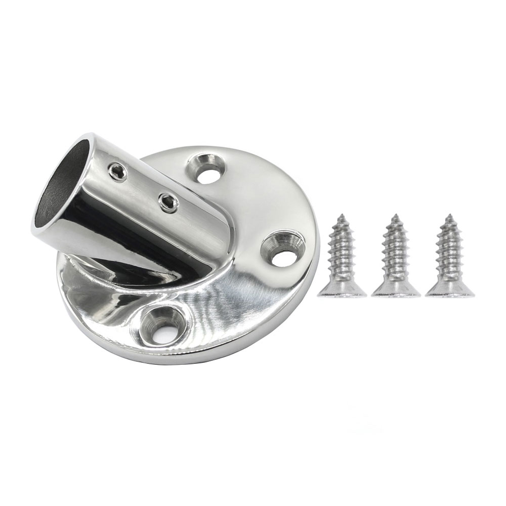 Iztoss 45 Degree Boat Deck Handrail Rail Fitting Round Base With 3pcs Screws 316 Stainless Steel For 1 Inch Tube