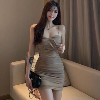 2019 Korean sexy slim slimming mesh strap dress Sleeveless  Knee-Length  Polyester  Mesh  Zippers  Knee-Length  Spaghetti Strap цена 2017