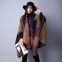 Ponchos Ruanas Para Mujer Womens Shawl Female Capes Imitation Cashmere Cloak Thickening Warm Winter Coat Ladies Pashmina Poncho