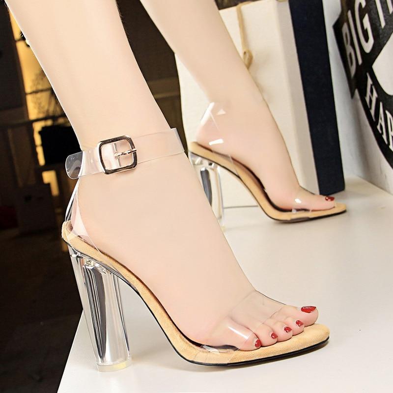Womens Open Toe Clear Transparent High Special Heel Shoes Sandals Pumps 2Colors