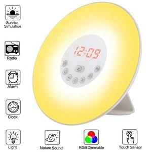 Wake Up Light Alarm Clock Sunrise/Sunset Simulation Luminous Digital Clock with FM Radio Night Light Touch Control Table MJ82502