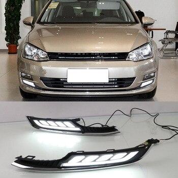 Car Styling GOLF7 LED Daytime Running Light for VW Golf 7 2013 2014 2015 2016 LED DRL Slgnal Fog Lamp Daytime Driving Light 12V