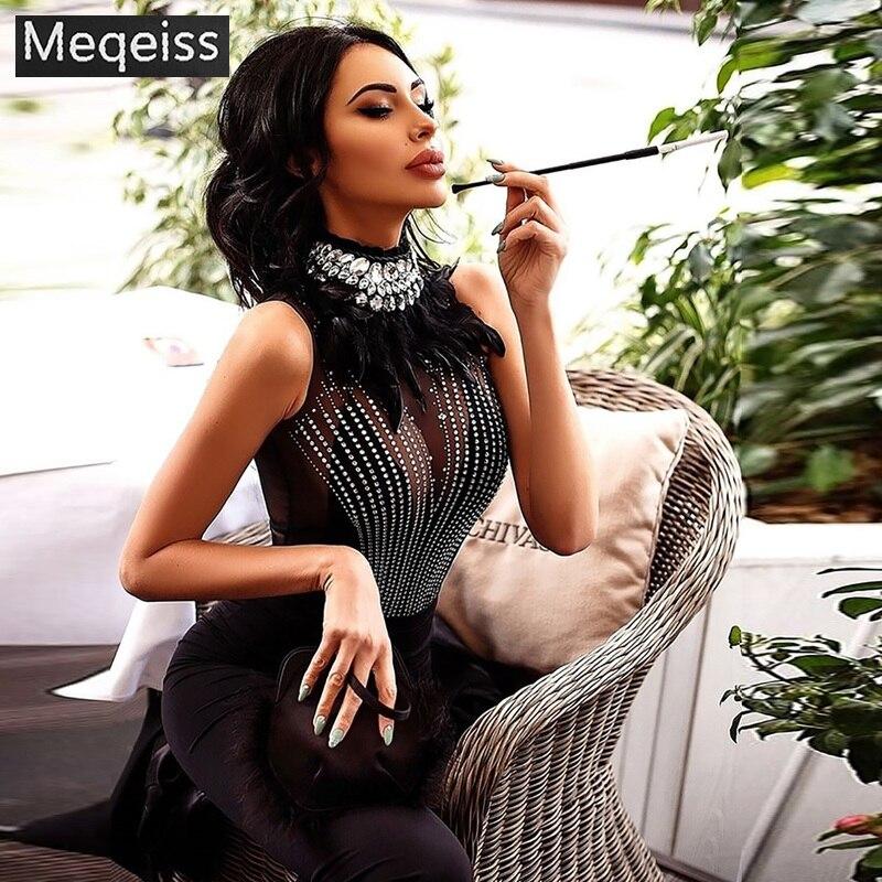 Celebridade De Alta Qualidade Preto Sem Mangas Beading Pena MEQEISS Escavar Sexy Rayon Bandage Vestido de Noite Vestido de Festa