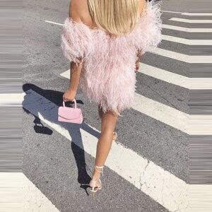 Image 2 - Abiti Da Sera corti Per Le Signore Rosa Con Nappe Largo Della Spalla Mezze Maniche Bateau Collo Del Partito di Promenade Gonne 2020