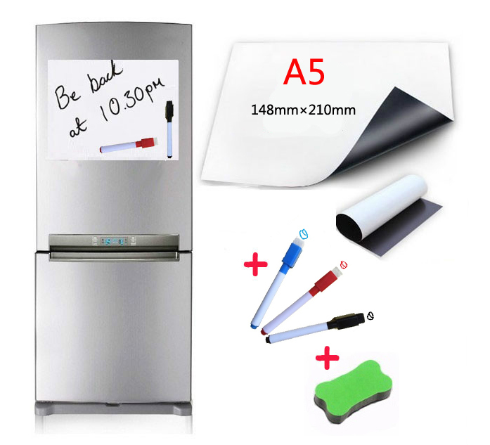 A5 Size Magnetic Whiteboard 3 Water-based Pen 1 Eraser For Fridge Magnets Dry Wipe White Board Writing Record Board