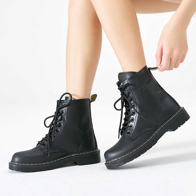 Da PU Nữ Mùa Đông Giày Cho Martin Giày Buộc Dây Giày Boot Nữ Nữ Mùa Đông Giày Mũi Tròn Nữ mắt Cá Chân Giày Botas Mujer