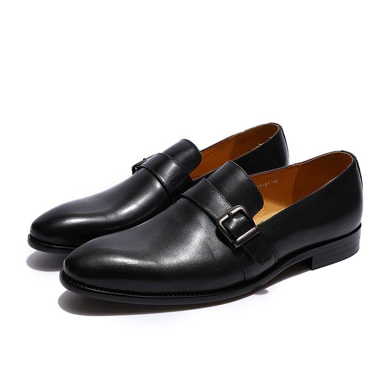 Felix chu 우아한 남성 로퍼 스님 스트랩 정품 가죽 버클 캐주얼 드레스 신발 슬립 웨딩 파티 mens 정장 신발-에서남성용 캐주얼 신발부터 신발 의  그룹 2