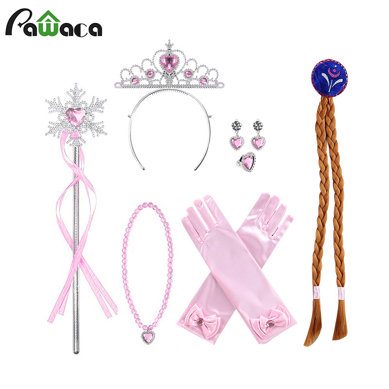 Vicloon Elsa Dress Up Accessories Set Of 9, Elsa Gloves, Princess Crown, Ring, Earring, Magic Wand And Necklace (Pink, Blue)