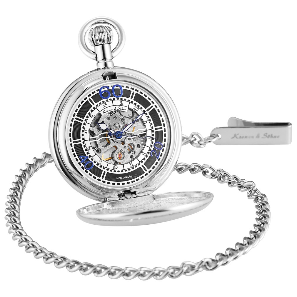 KS Retro Onion Crown Silver Color Twelve Constellations Skeleton Hand Winding Mechanical Clock Pocket Watches Fob Chain Jewelry