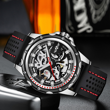 Winner brand 2019 new fashion men automatic mechanical watches luxury brand skeleton luminous hands rubber strap sport clock