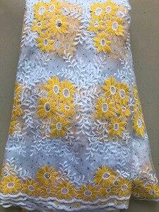 Image 4 - 아프리카 레이스 패브릭 2020 고품질 프랑스어 HLL3878 메쉬 레이스 패브릭 비즈 나이지리아 우유 실크 레이스 직물 드레스 로얄 블루
