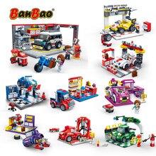 BanBao Racing Car Garage Pull Back Off road Vehicle Bricks Educational Building Blocks For Kids Children Model Toys Gift