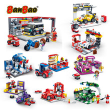 Banbao carro de corrida garagem puxar para trás fora estrada veículo tijolos blocos de construção educacionais para crianças modelo brinquedos presente
